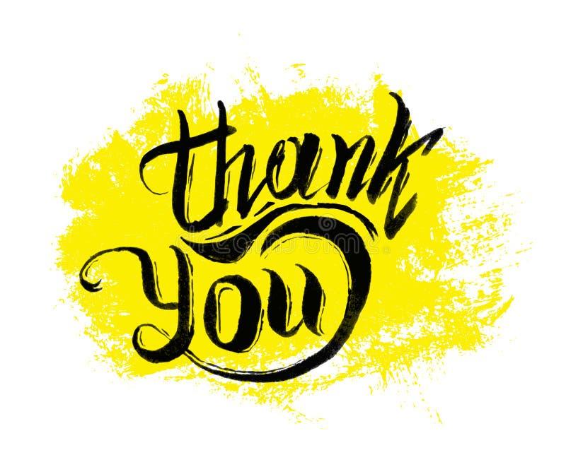 Tacka dig att ink handen dragen bokstäver royaltyfri illustrationer