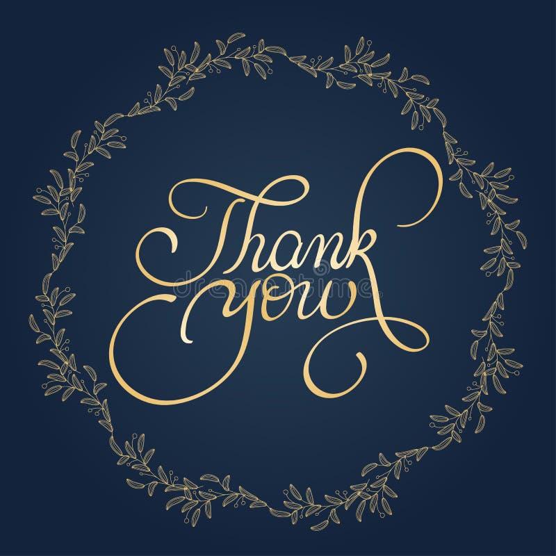 Tacka dig att smsa med den runda ramen på bakgrund Illustration EPS10 för kalligrafibokstävervektor royaltyfri illustrationer