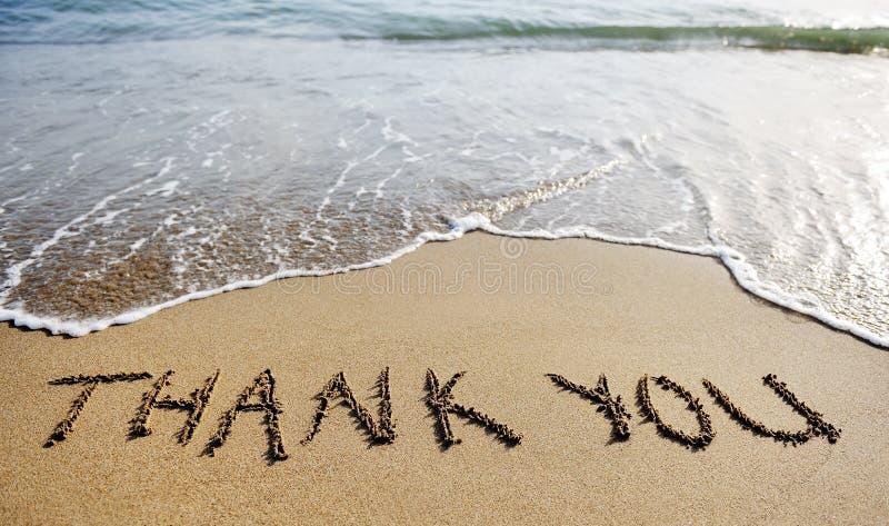 Tacka dig att uttrycka dragit på strandsanden royaltyfri fotografi