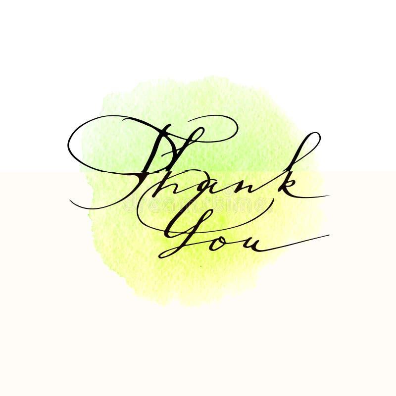 Tacka dig den handskrivna inskriften, kalligrafi som märker royaltyfri illustrationer
