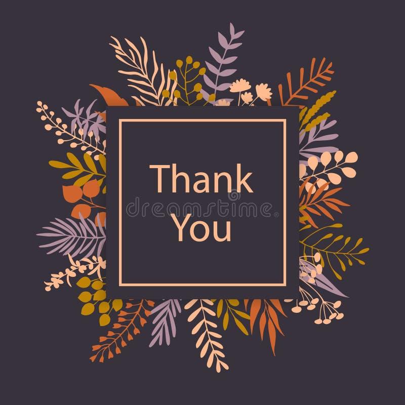 Tacka dig det blom- kortet för hälsningen för risfilialramen vektor illustrationer