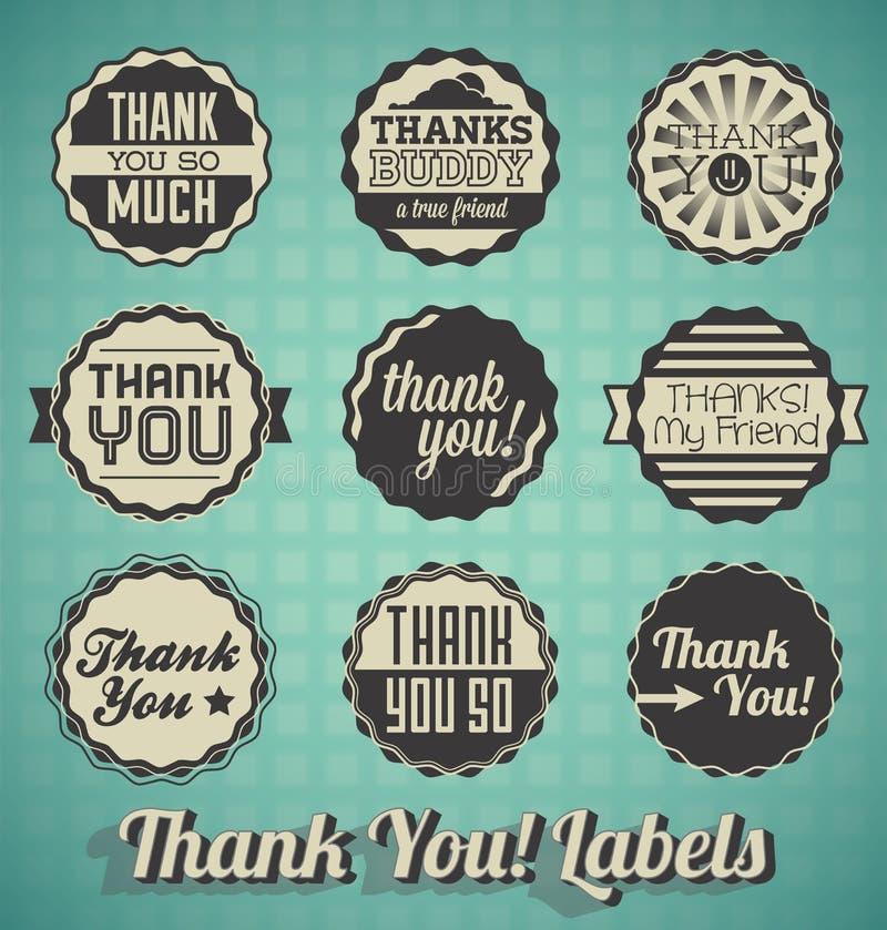 Tacka dig etiketter och symbolen stock illustrationer