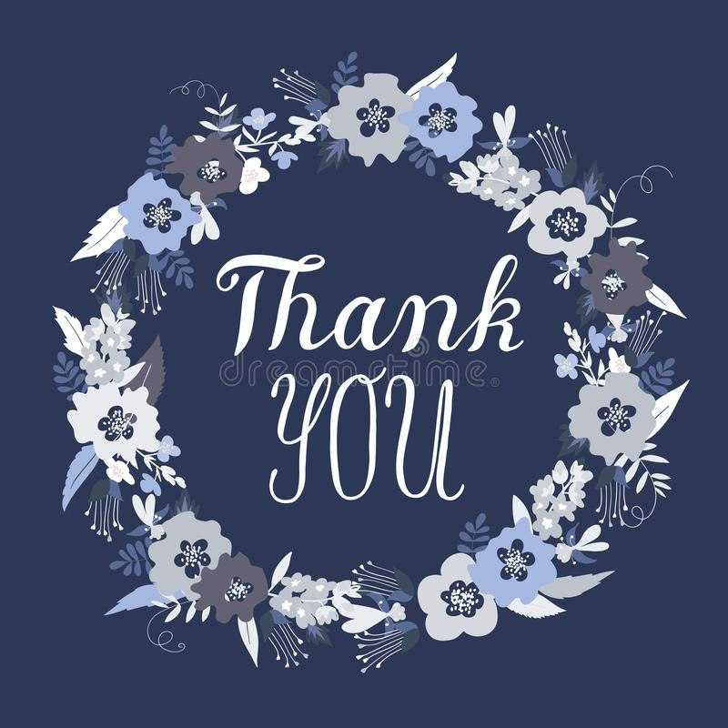 Tacka dig hälsningkortet med klotterblommor royaltyfria foton