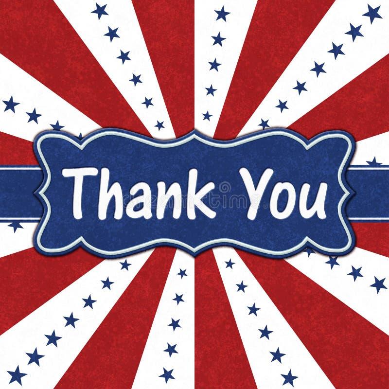 Tacka dig meddelandet med blåa stjärnor med röda och vita bristningslinjer arkivbilder