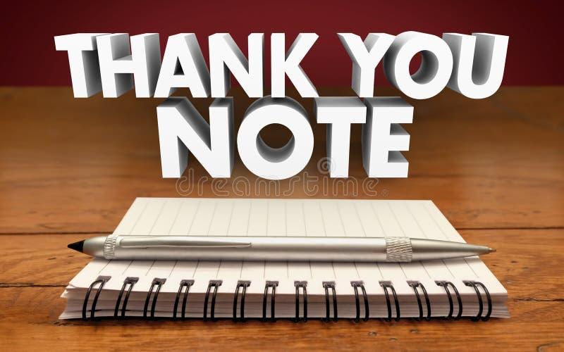 Tacka dig noterar skriver notepaden Pen Appreciation Communicate vektor illustrationer