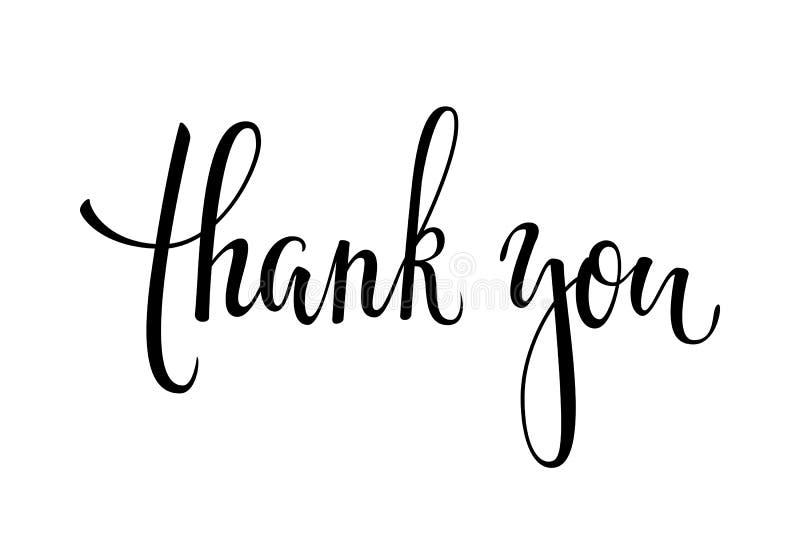 Tacka dig och den lyckliga dragen kalligrafi för tacksägelse handen och borsta pennbokstäver som isoleras på bakgrund design för  royaltyfri illustrationer