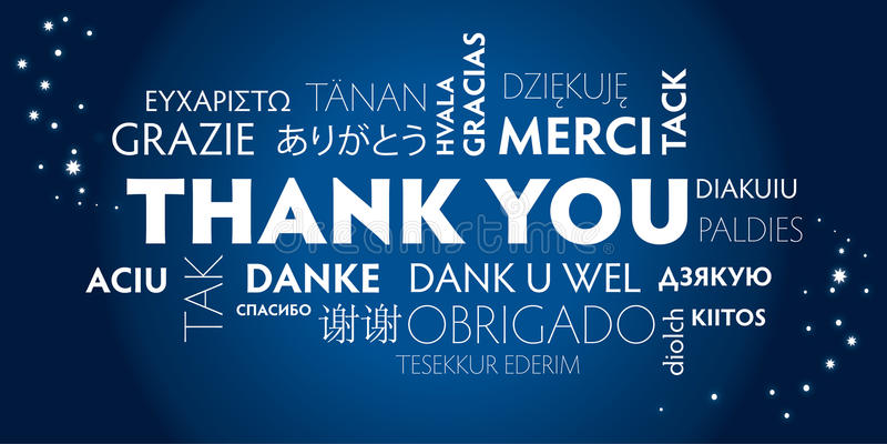 Tacka dig som är flerspråkig, blått royaltyfri illustrationer