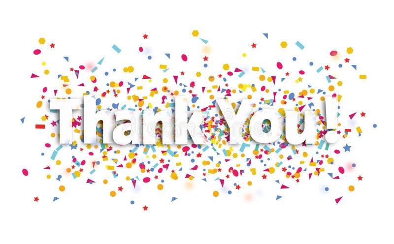 Tacka dig tecknet, text och konfettier - tacka dig royaltyfri illustrationer