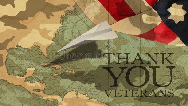 Tacka dig veteran USA-flagga för pappers- flygplan royaltyfria foton