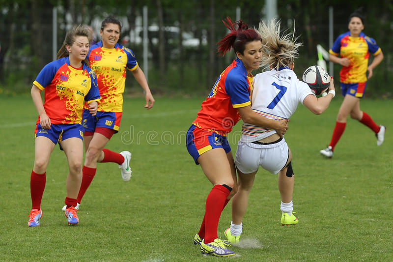 Tackle during female rugby game royalty free stock photos