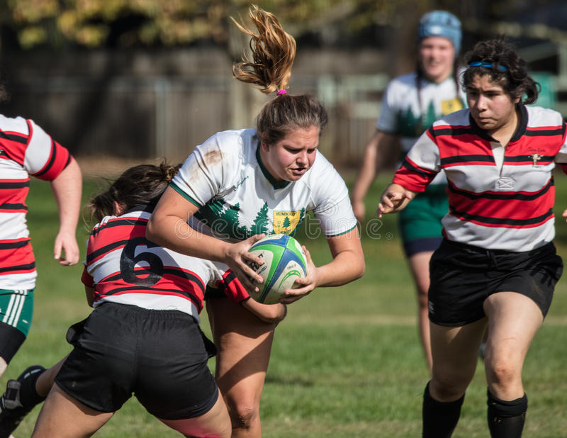 The Tackle. Women`s rugby action in Redding, California stock photography