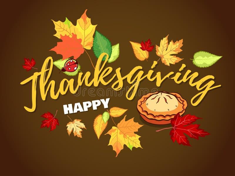 Tacksägelse Autumn Background With Pie vektor illustrationer