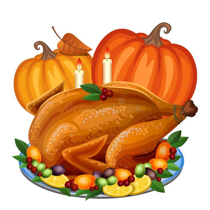 Tacksägelse Turkiet på uppläggningsfatet med garnering- och apelsinpumpa, royaltyfri illustrationer