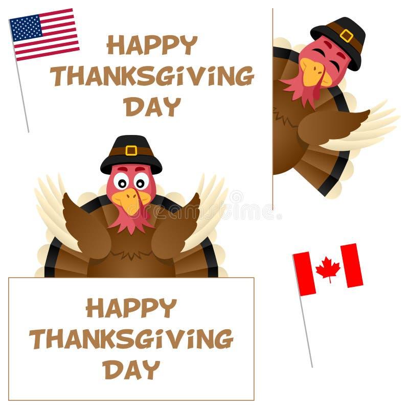Tacksägelsedag Turkiet och baneruppsättning stock illustrationer