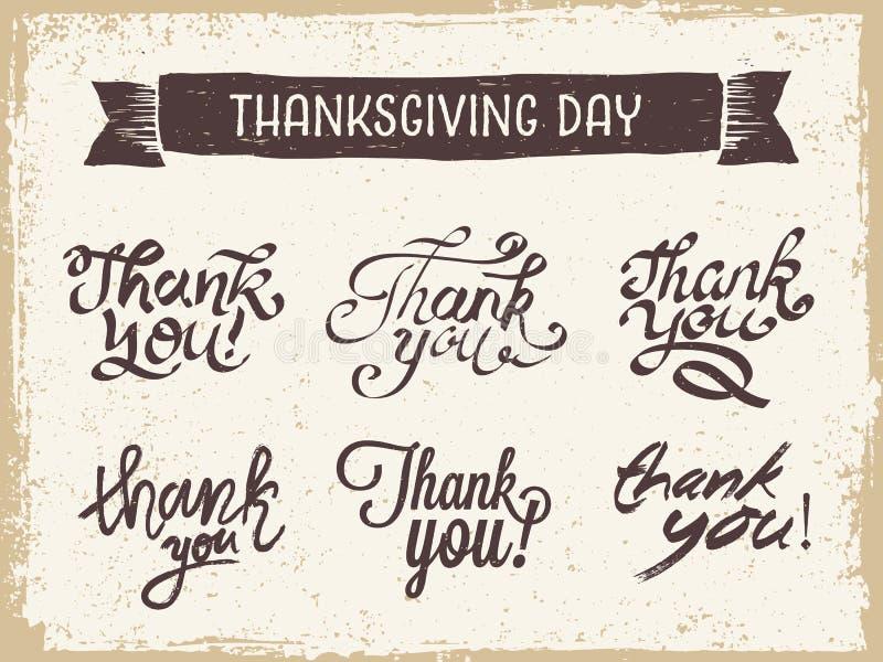 Tacksägelsedagbokstäver stock illustrationer