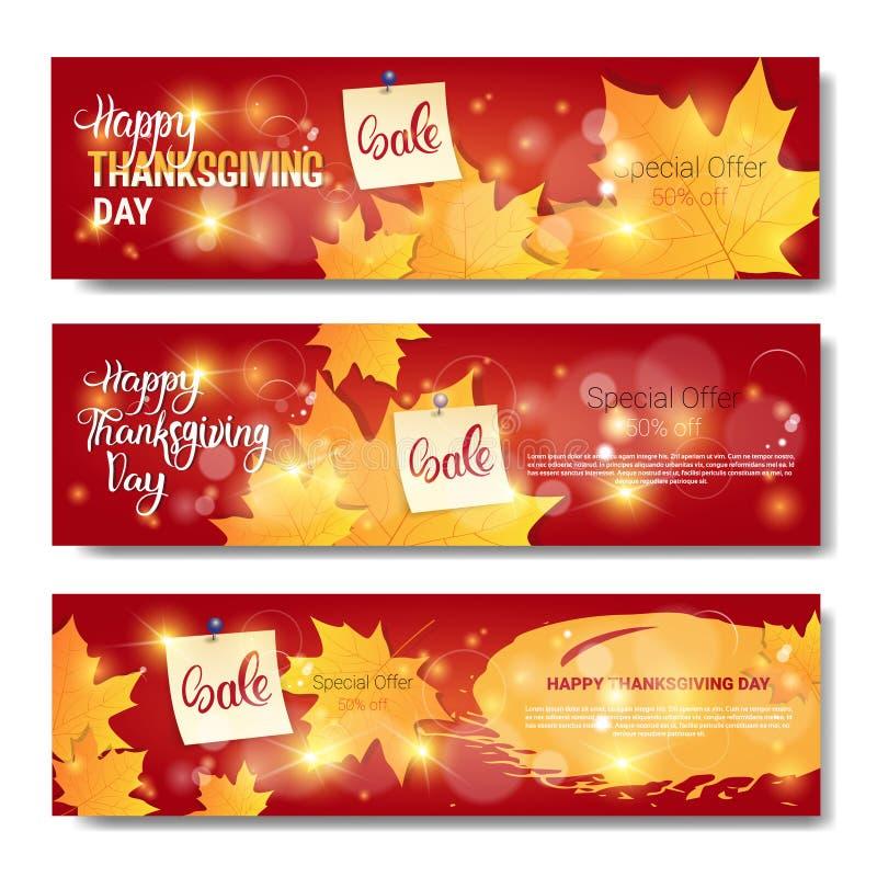 TacksägelsedagSale Autumn Traditional Holiday Shopping Discount säsongsbetonat pris av baneruppsättning royaltyfri illustrationer