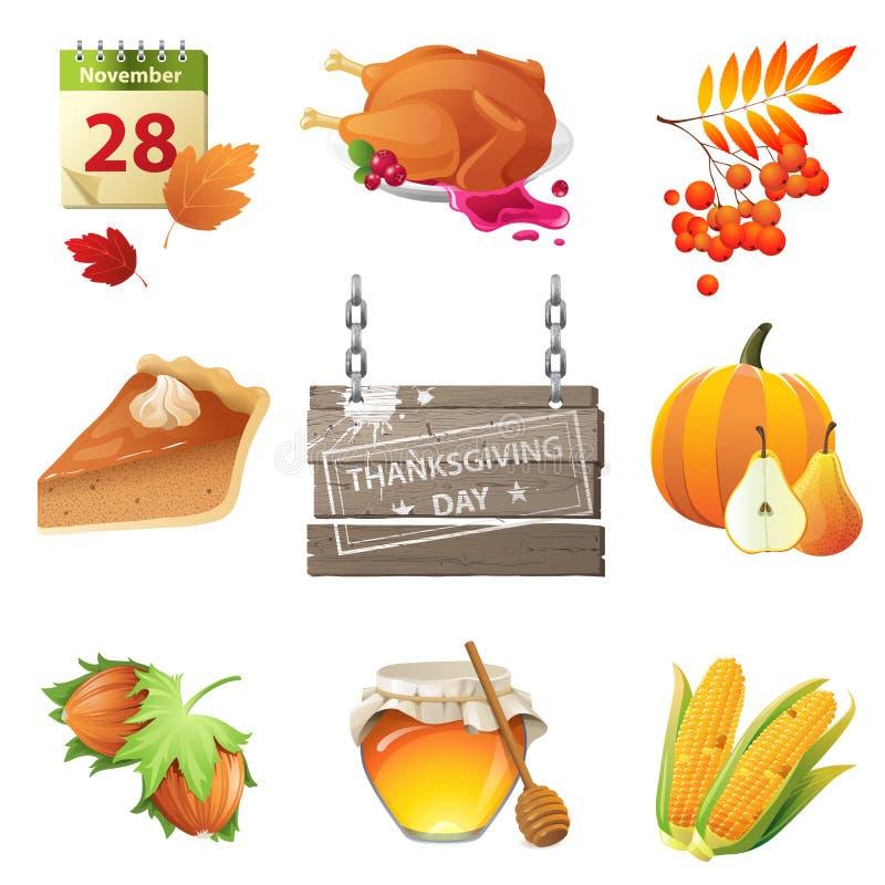 Tacksägelsedagsymboler vektor illustrationer