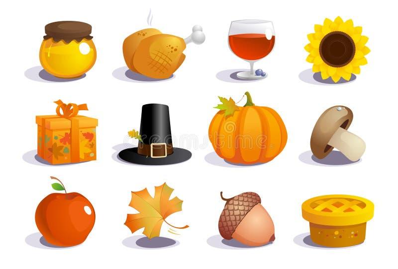 Tacksägelsedagsymboler. stock illustrationer