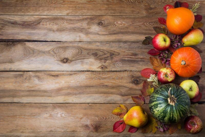 Tacksägelsedekor med grön pumpa, orange löksquash, nedgångsidor, äpplen och päron på den lantliga träbakgrunden, kopia arkivbild