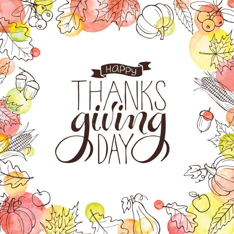 Tacksägelsehälsningkort royaltyfri illustrationer