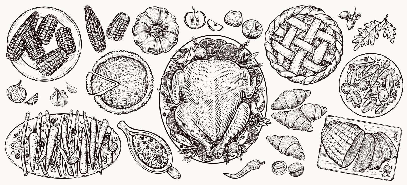 Tacksägelsematställe, bästa sikt Realistiska illustrationer för matvektor vektor illustrationer