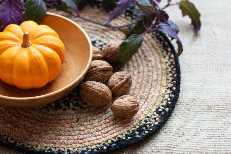Tacksägelsenedgångstilleben med Mini Pumpkin, valnötter och växten som höjdpunkt på en tabell med den texturerade tygbordduken me royaltyfria bilder