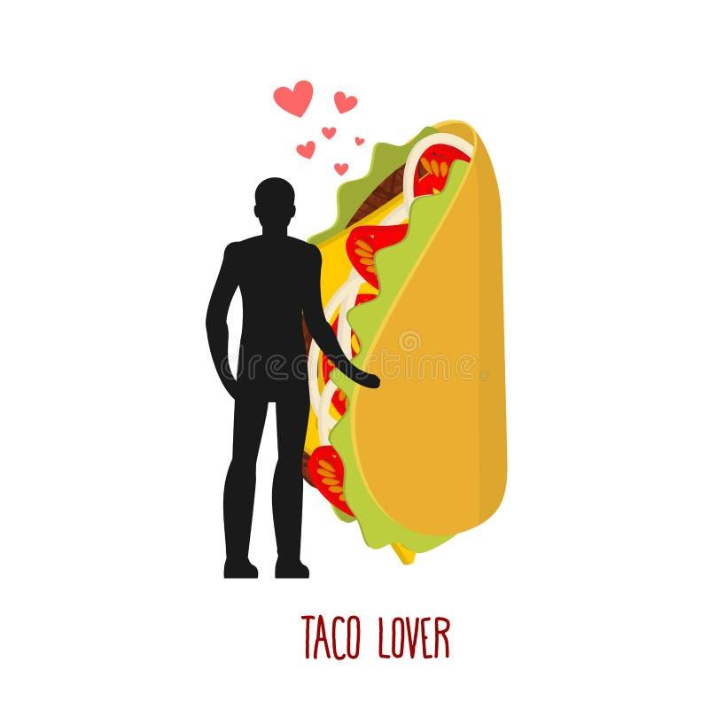 Taco εραστών Αγάπη στα μεξικάνικα τρόφιμα Άτομο και γρήγορο γεύμα Holdi εραστών απεικόνιση αποθεμάτων