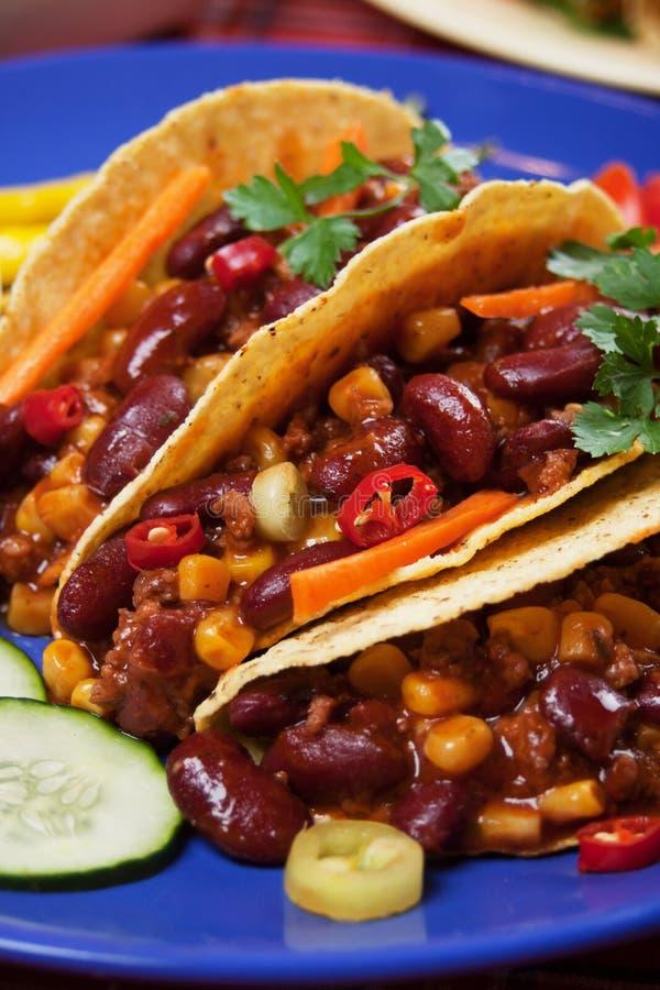taco κοχυλιών τσίλι burrito carne con στοκ φωτογραφία