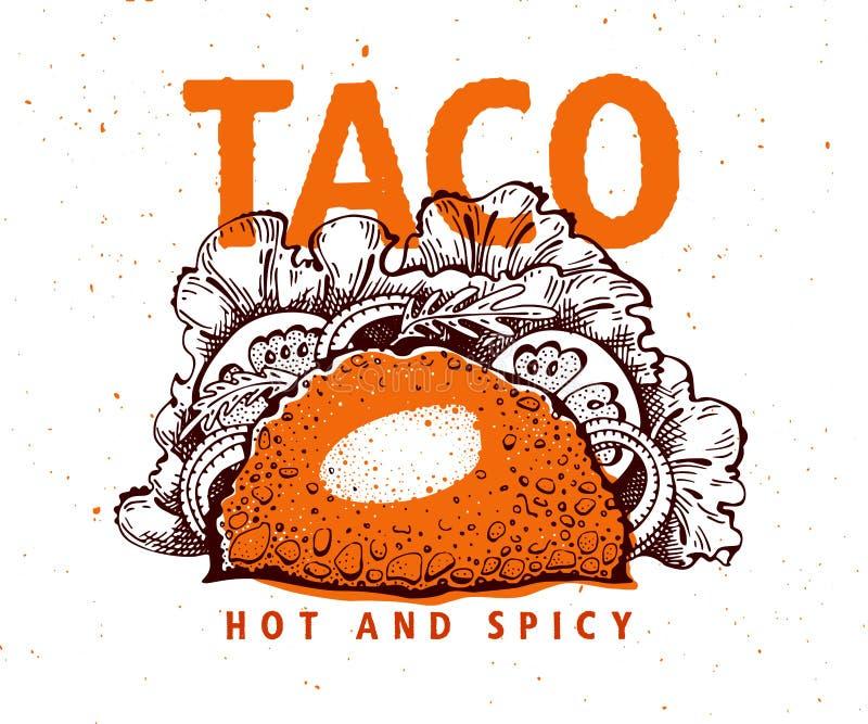 taco Мексиканская еда Традиционная мексиканская кухня Иллюстрация вектора нарисованная рукой Может быть польза для фаст-фуда, зак иллюстрация вектора