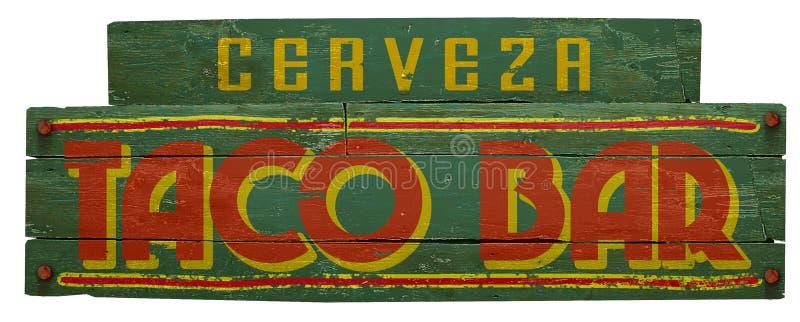 Taco Bar Cerveza Sign Wood Grunge Mexiko Küche lizenzfreie stockbilder