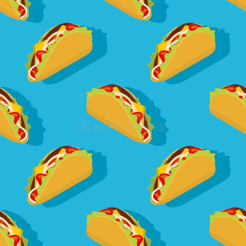 Taco bezszwowy wzór Tradycyjny Meksykański karmowy tło