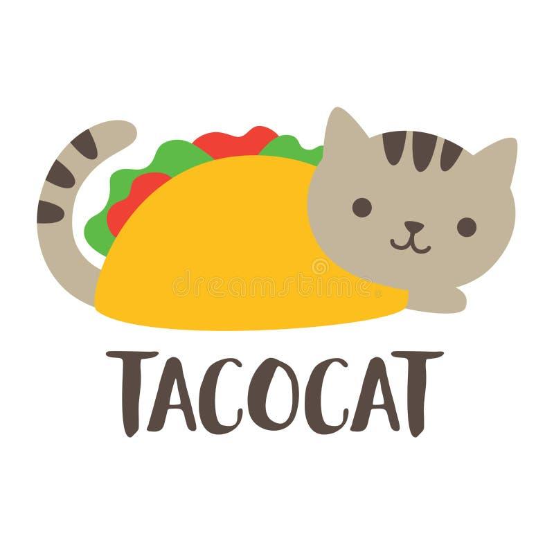 Taco bonito Cat Vetora Illustration ilustração stock