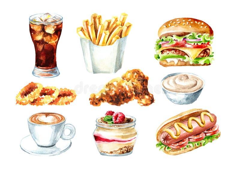 Σύνολο γρήγορου φαγητού Το χάμπουργκερ, χοτ-ντογκ, ποτήρι της κόλας, φλιτζάνι του καφέ, τηγάνισε το κοτόπουλο, δαχτυλίδια κρεμμυδ διανυσματική απεικόνιση