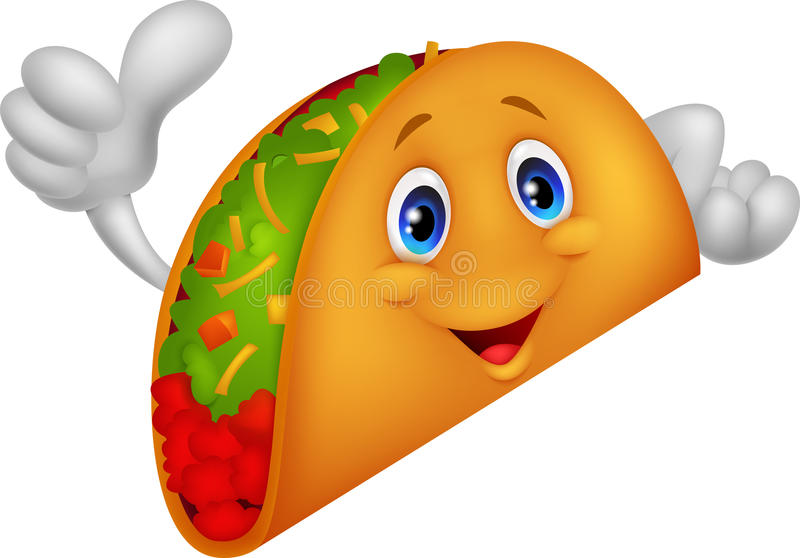 Taco Cartoon Giving Thumb Up Stock Vector