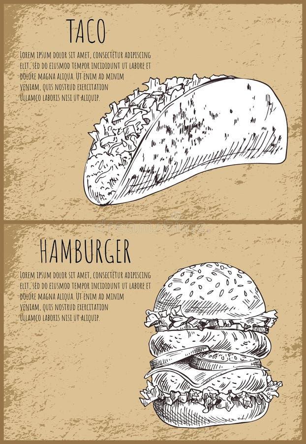 Taco con el cartel sabroso del vector del bocado de la hamburguesa stock de ilustración