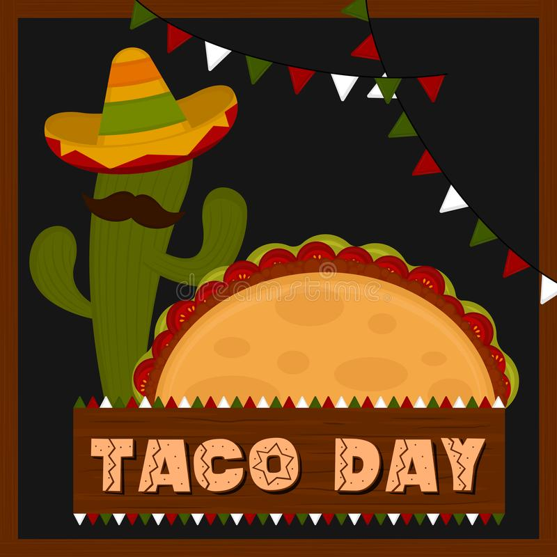 Taco day poster. Cactus with a traditional mexican hat and a taco - Vector illustration vector illustration