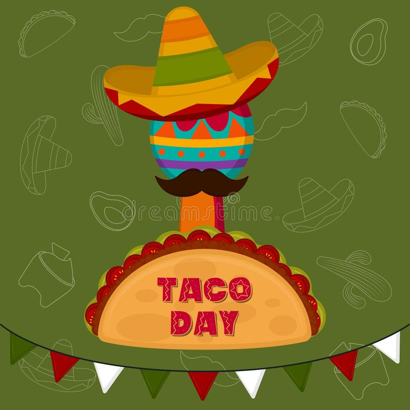 Taco day poster. Taco with maraca and traditional mexican hat - Vector illustration stock illustration