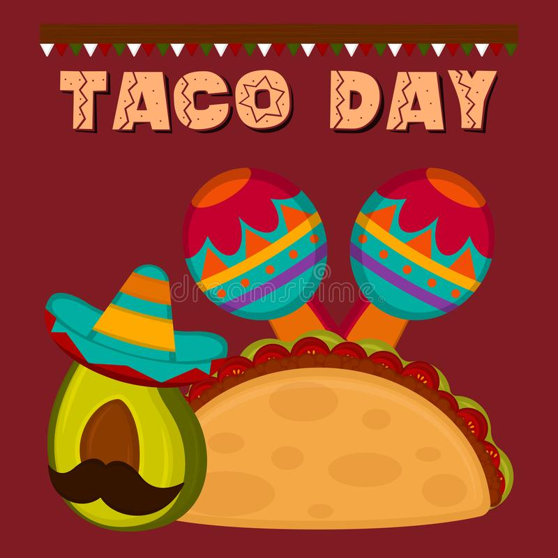 Taco day poster. Taco with maracas and avocado - Vector illustration stock illustration