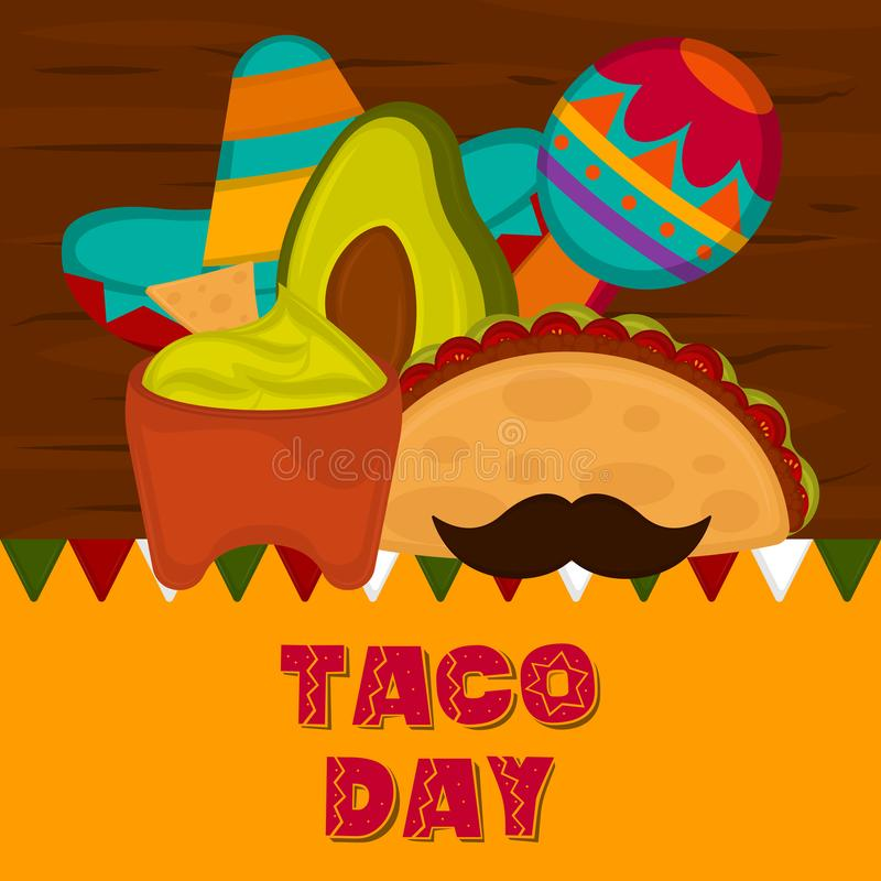 Taco day poster. Taco with a traditional mexican hat, maraca and guacamole pot - Vector illustration royalty free illustration