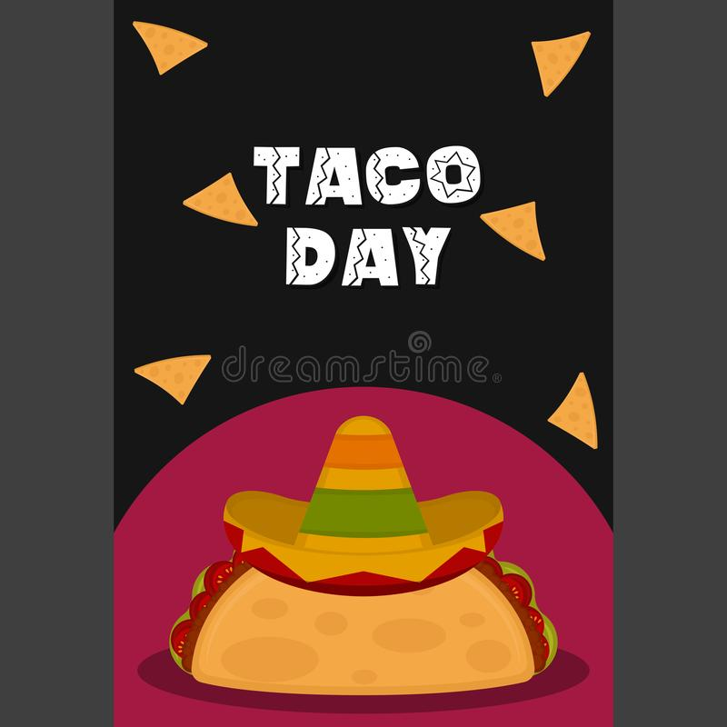 Taco day poster. Taco with a traditional mexican hat - Vector illustration stock illustration