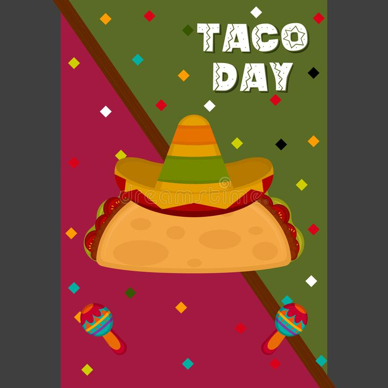 Taco day poster. Taco with a traditional mexican hat - Vector illustration vector illustration