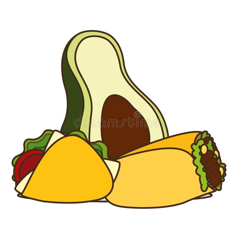 Taco de burrito d'avocat illustration libre de droits