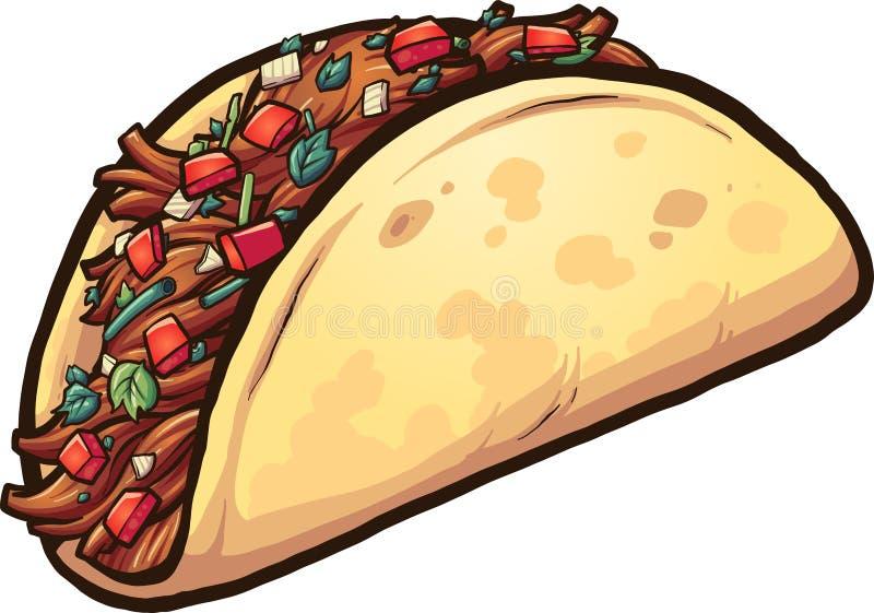 Taco de viande de bande dessinée avec le cilantro et la tomate illustration de vecteur