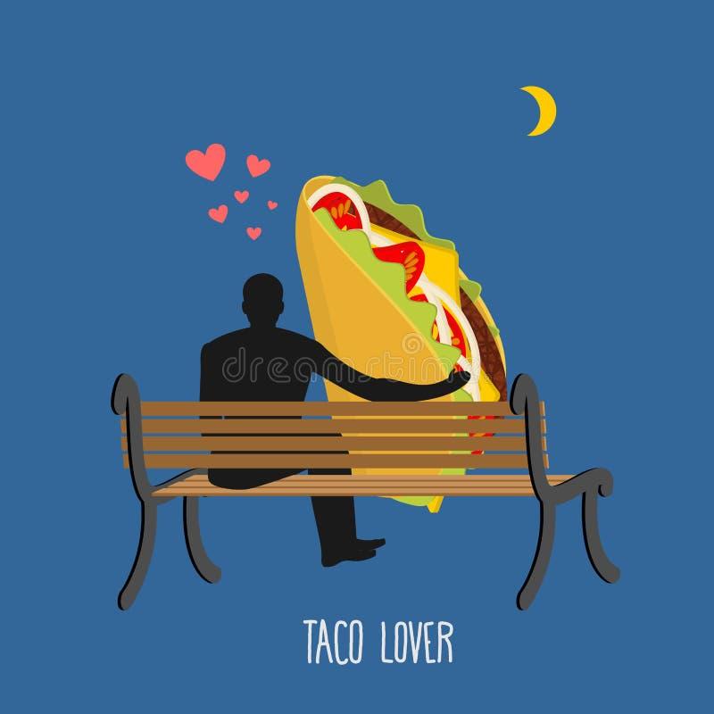 Taco del amante La comida y la gente mexicanas están mirando la luna ilustración del vector