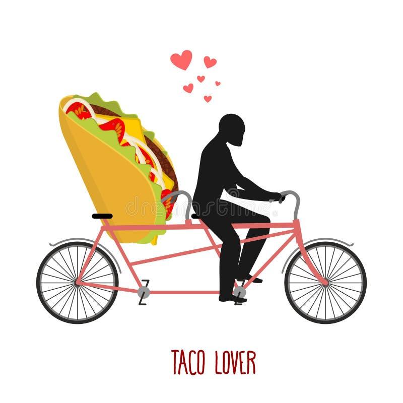 Taco dell'amante Alimento messicano sulla bicicletta Amanti di riciclaggio illustrazione vettoriale