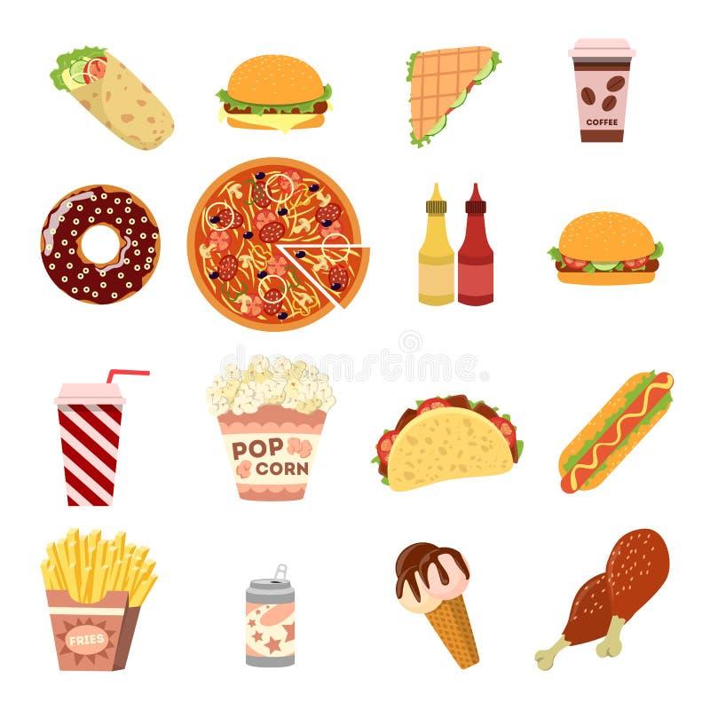 taco för pie för burritosnabbmatkebab set vektor illustrationer