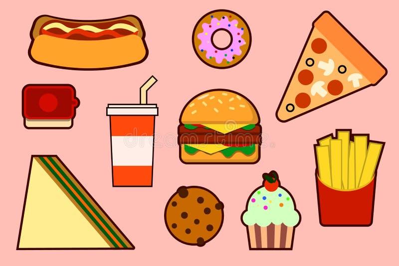 taco för pie för burritosnabbmatkebab set stock illustrationer