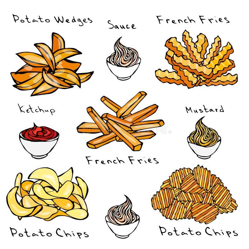taco för pie för burritosnabbmatkebab set Variationer av Potatoe skivor Potatiskilar, pommes frites, korrugerade potatischiper, v royaltyfri illustrationer
