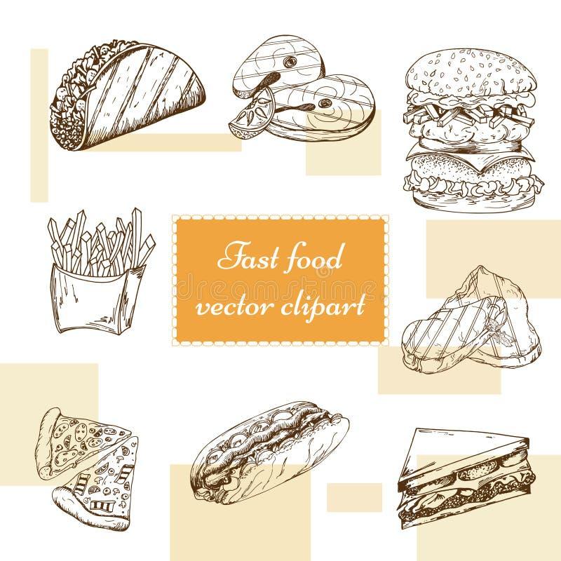 taco för pie för burritosnabbmatkebab set Räcka attraktionillustrationen Tappninghamburgaredesign Färgrika amerikanska matbestånd vektor illustrationer