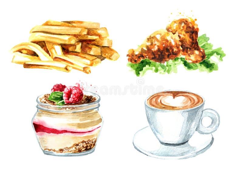taco f?r pie f?r burritosnabbmatkebab set Kopp kaffe stekt kyckling, fransk sm royaltyfri illustrationer